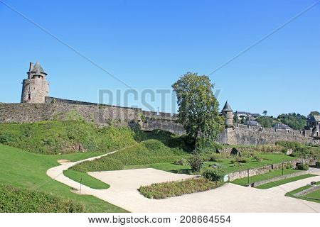 medieval castle at Fougeres in Brittany, France