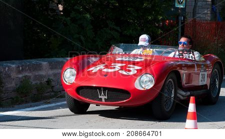 GOLA DEL FURLO, ITALY - MAY 19: MASERATI 150 S 1955 1 on an old racing car in rally Mille Miglia 2017 the famous italian historical race (1927-1957) on May 19 2017