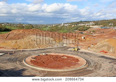new roundabout on a road construction site