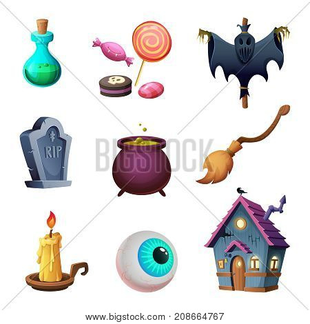 Halloween symbos collection. Design of vector icons. Cartoon style