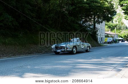 GOLA DEL FURLO, ITALY - MERCEDES-BENZ 190 SL 1956 on an old racing car in rally Mille Miglia 2017 the famous italian historical race (1927-1957) on May 19 2017