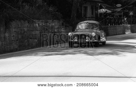GOLA DEL FURLO, ITALY - MAY 19: SALMSON 2300 SPORT 1956 on an old racing car in rally Mille Miglia 2017 the famous italian historical race (1927-1957) on May 19 2017