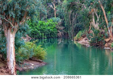 Scenic view of Jordan river, the place where Jesus Christ was baptized
