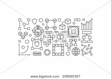Blockchain horizontal banner or illustration in thin line style