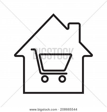Household goods store linear icon. House with shopping cart inside. Thin line illustration. House shop contour symbol. Vector isolated outline drawing