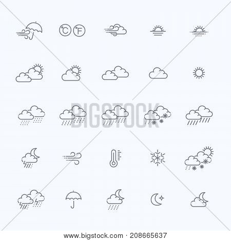 Weather icons - Vector editable strokes. Weather forecast