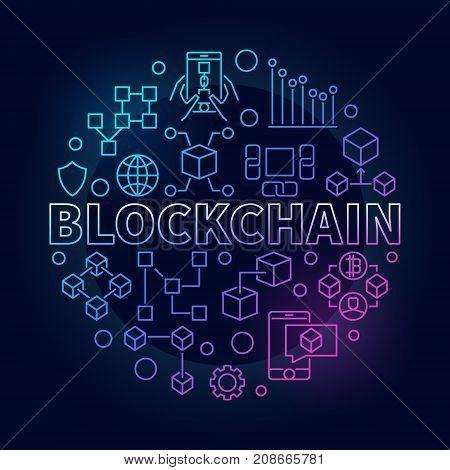Blockchain technology colorful outline round vector illustration on dark background