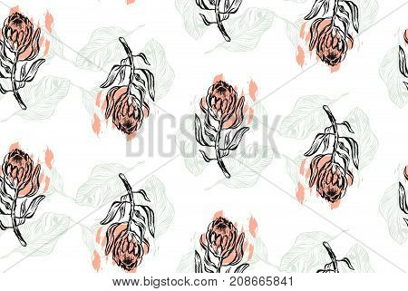 Hand drawn vector graphic abstract textured seamless pattern with protea. Floral motif for wrapping, wallpaper, fabric, textile