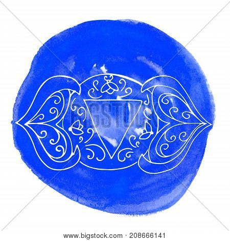 Ajna chakra on navy blue watercolor stain