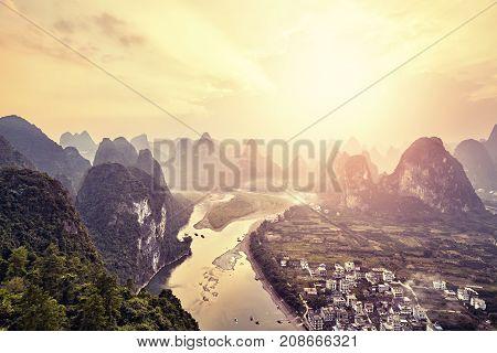 Lijiang River At Sunset Seen From Xingping Village, China.