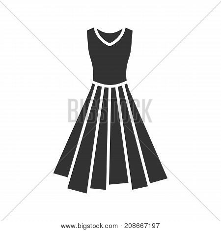 Dress glyph icon. Silhouette symbol. Evening gown. Negative space. Vector isolated illustration