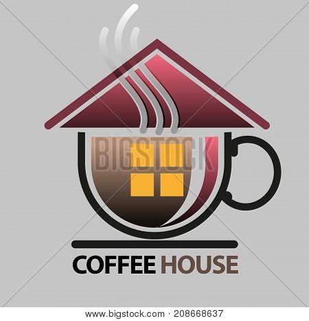 Vector abstract, house of coffee symbol or icon