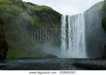 Iceland waterfall - Skogafoss. beautiful high waterfall. large waterfall