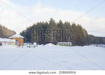 SATKA, RUSSIA - JANUARY 4, 2017: Federal highway M-5 Urals . The road connects the European and Asian parts of Russia. Winter in the Urals