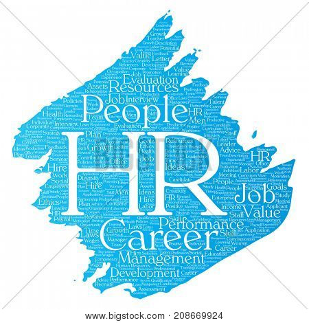 Concept conceptual hr or human resources career management brush or paint word cloud isolated background. Collage of workplace, development, hiring success, competence goal, corporate or job