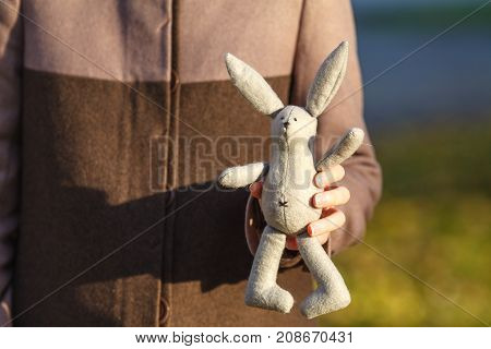 Soft Toy Rabbit On Hands Of Girl Walkink In Fall Park