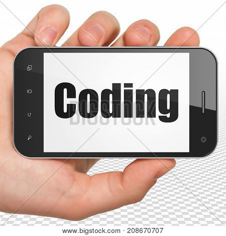 Database concept: Hand Holding Smartphone with black text Coding on display, 3D rendering