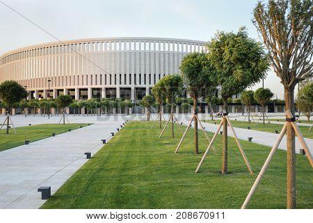 KRASNODAR, RUSSIA - JUN 21, 2017: Territory of football stadium Krasnodar, stadium was opened on October 9, 2016