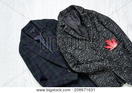 Checkered And Gray Coat, Maple Leaf. Fashionable Concept. Top View