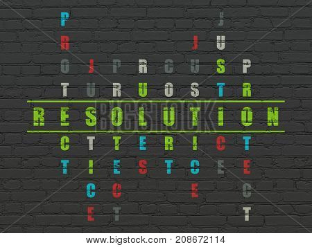 Law concept: Painted green word Resolution in solving Crossword Puzzle