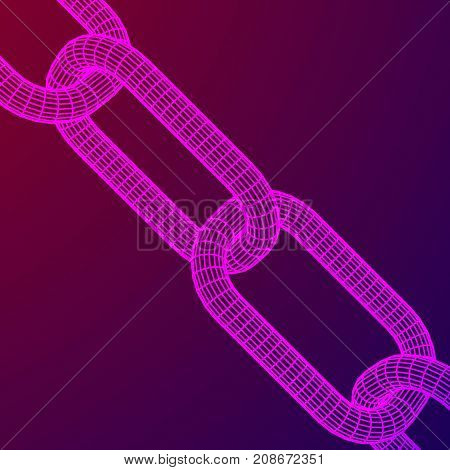 Wireframe BlockChain links. Chain 3d Vector illustration