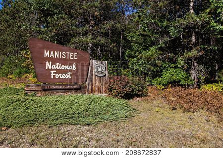 Manistee, Michigan, USA - September 30, 2017: Entrance sign to the Manistee National Forest in the Lower Peninsula of Michigan in the American Midwest.