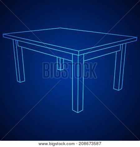 Table furniture wireframe blueprint. Linear outline pedestal vector illustration.