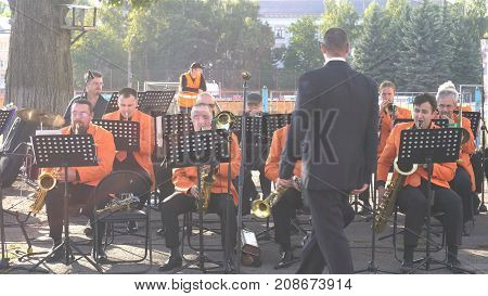 KURSK RUSSIA - SEP 20 2017 : the orchestra plays a piece of music before a football match