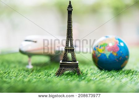 Eiffel tower  plane  worldand travel concept,travel to Paris vacation trip
