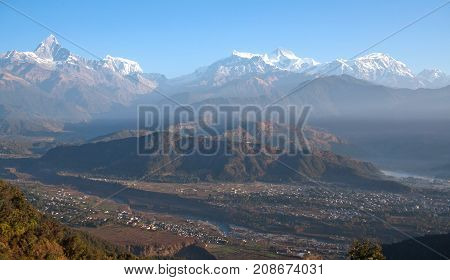 Panorama of Himalayas mountain range - view from Sarangkot Hill in Pokhara Nepal