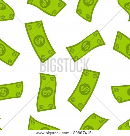 Money flow seamless pattern. Falling dollars background. Cash flying rain. Vector illustration.