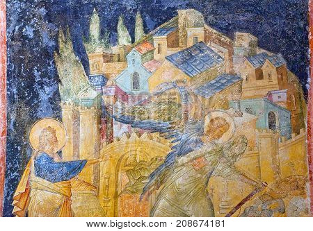 ISTANBUL, TURKEY - OCTOBER 31, 2015: Ancient fresco painting in the Church of the Holy Saviour in Chora (Kariye Museum)