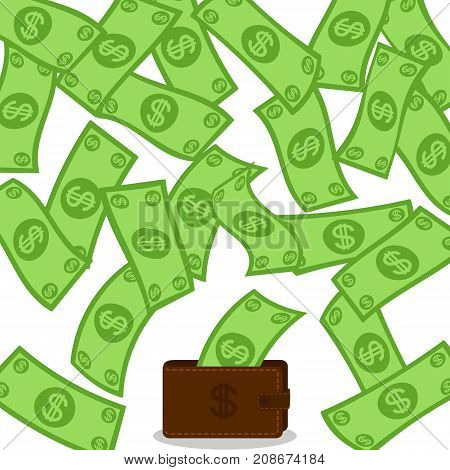 Money flow falling to wallet from above. Profit making concept. Lottery win falling dollars background. Cash flying rain. Vector illustration.