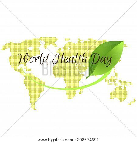 World health day concept with green map . Advertisement of healty lifestyle and vegan food. Vector illustration.