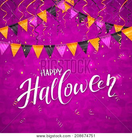 Text Happy Halloween on an purple background with holiday images, colorful pennants, streamers and confetti, illustration.
