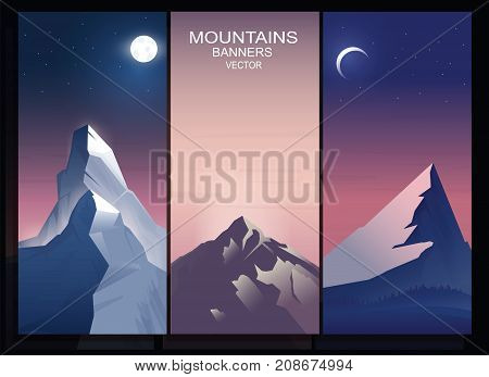 Abstract mountains vertical banner set. Good for the production of promotional products on the theme of mountaineering, trekking, travels. Vector