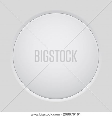 Gray interface round button. Application push button. Vector illustration