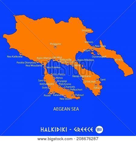 Peninsula Of Halkidiki In Greece Orange Map And Blue Background
