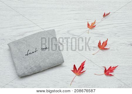 Gray Sweater With An Inscription And Autumn Leaves. Fashionable Concept