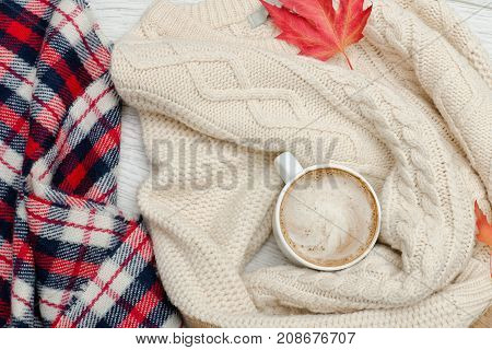 Cappuccino, Milk Knitted Sweater. Checkered Plaid And Autumn Leaves. Fashionable Concept