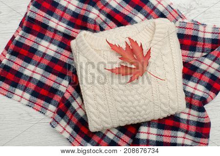 Milk Knitted Sweater On Plaid, Autumn Leaf. Fashionable Concept