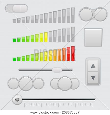 Web interface elements. Gray buttons, slider and volume adjustment. Vector 3d illustration