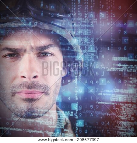 Close up of unsmiling soldier against white background with vignette