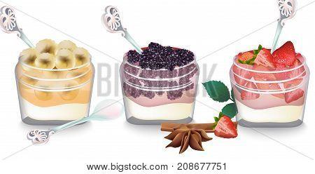 Sweet Delicious Breakfast Dessert Vector. Yogurt Parfait With Fruits