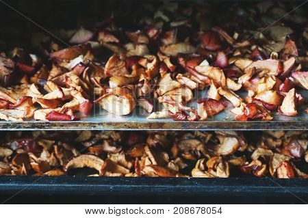 The process of drying apples in the oven. Pieces of dry apples on a metal black baking sheet.