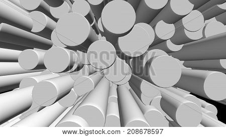 Abstract Background With White Cylinders On Black Backdrop