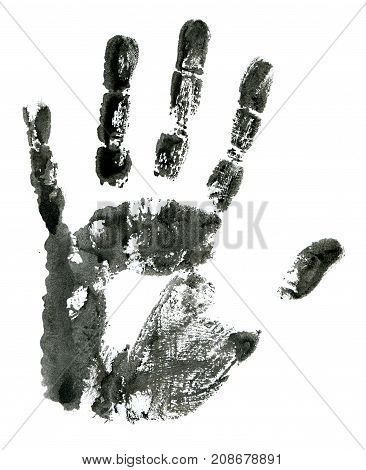 Close up of black hand print on white background