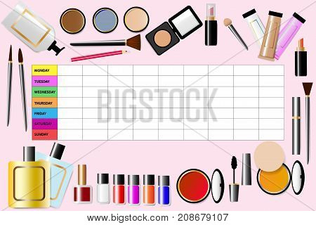 Cosmetic accessories are around a weekly schedule in the centre of the illustration. All is on the pink background.