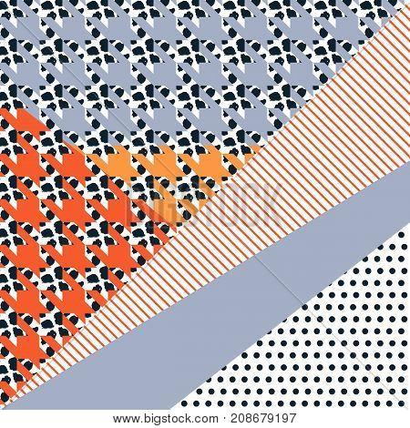 Geometric card vector illustration. Banner postcard art design. Background geometric memphis. Creative design combination of geometry with hand-drawn prints. Brush strokes