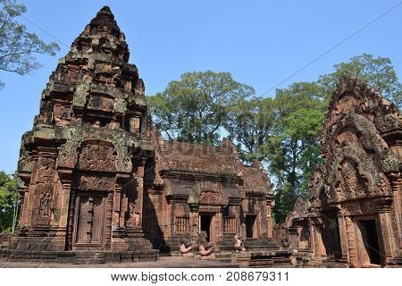 Walk Closer To The Temple Around Banteay Srei Still In Siem Reap - Cambodia